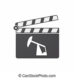 Isolated clapper board with a horsehead pump - Illustration...