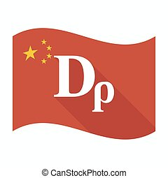 Isolated China flag with a drachma currency sign -...