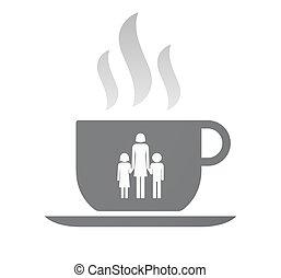 café, familia, padre, Pictogram, taza, aislado, solo, hembra...