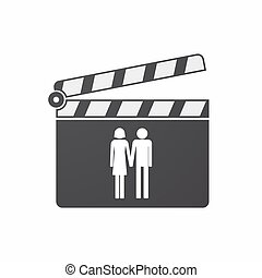 Isolated clapper board with a heterosexual couple pictogram...