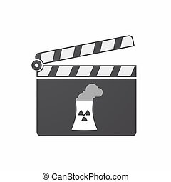 Isolated clapper board with a nuclear power station -...