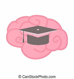 Isolated brain with a graduation cap