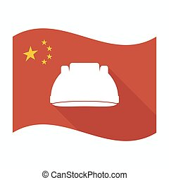 Isolated China flag with a work helmet