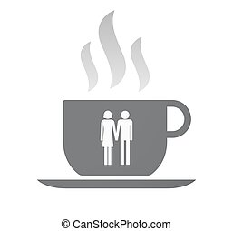 Isolated coffee cup with a heterosexual couple pictogram -...