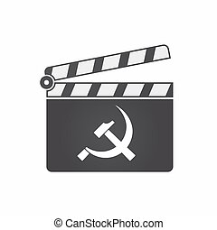 Isolated clapper board with the communist symbol -...