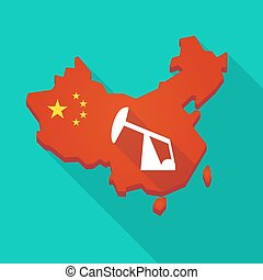 Long shadow China map with a horsehead pump - Illustration...