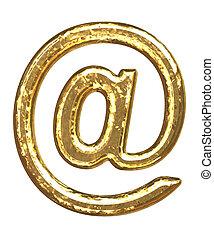 Golden font. At sign