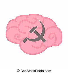 Isolated brain with the communist symbol - Illustration of...