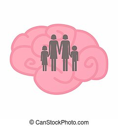 Isolated brain with a lesbian parents family pictogram