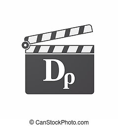 Isolated clapper board with a drachma currency sign -...