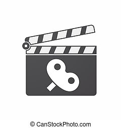 Isolated clapper board with a toy crank - Illustration of an...