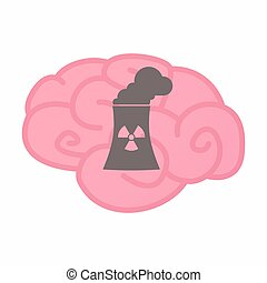 Isolated brain with a nuclear power station - Illustration...