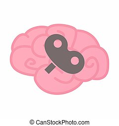 Isolated brain with a toy crank - Illustration of an...