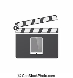 Isolated clapper board with a tablet computer - Illustration...