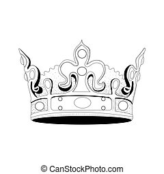 Royal crown - Isolated hand drawn royal crown, Vector...