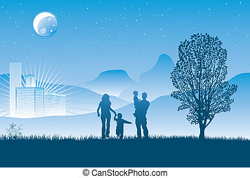 Night urban scene - Silhouettes of family on a background of...