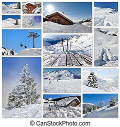 winter holidays collage - winter pictures collage in square...