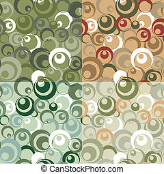 Seamless circle pattern - Four variants of color camouflage...