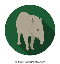 Mexican tapir icon in flat style isolated on white...