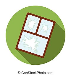 Broken window icon in flat style isolated on white...