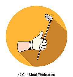 Holding of a golf club icon in flat style isolated on white...