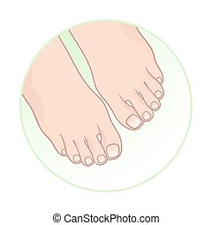 Beautiful female feet. Body care icon design vector