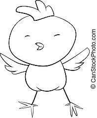 cute black and white cartoon of baby rooster.