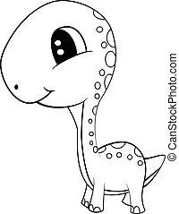 Cute Black and White Cartoon of  Baby Brontosaurus Dinosaur