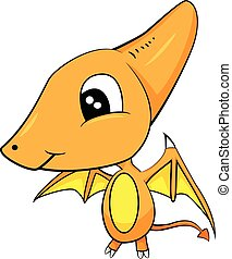 Cute Cartoon of Brown Baby Pterodactyl Dinosaur -...