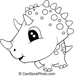 Cute Black and White Cartoon of Baby Triceratops Dinosaur