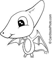 Cute Black and White Cartoon of Baby Pterodactyl Dinosaur -...