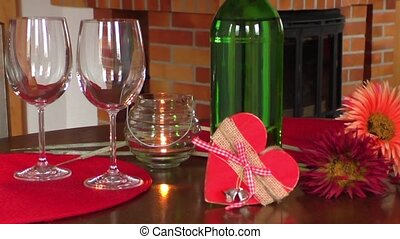 Wine on table. Valentine's day celebration concept