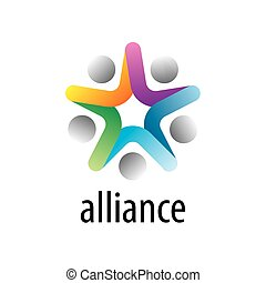 vector logo alliance - Abstract vector logo union of people...