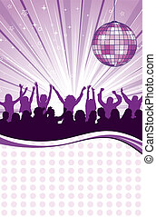 Party Template with discoball and wave pattern, element for...