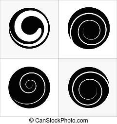 Collection of abstract spiral vector elements.