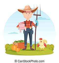 Farmer with pitchfork and pork, vegetables, hen - Farmer...