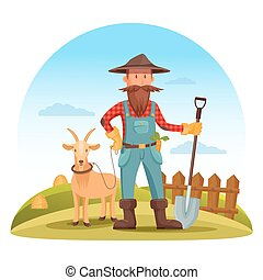 Farmer man with spade and goat on field - Farmer man in...