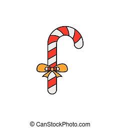 plat, lijn, Kerstmis, versuikeren, pictogram