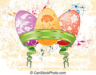 Easter background with eggs, vector illustration, element...