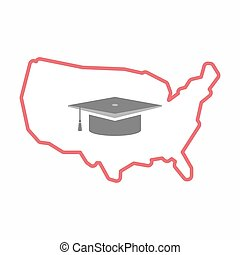 Isolated map of USA with a graduation cap
