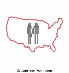 Isolated map of USA with a heterosexual couple pictogram -...