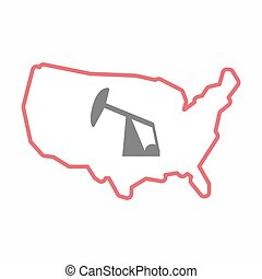 Isolated map of USA with a horsehead pump