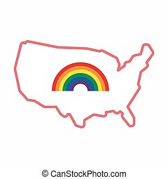 Isolated map of USA with a rainbow