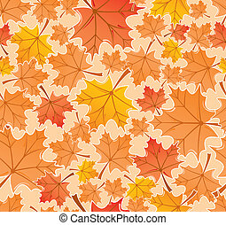 Autumn leaves seamless pattern, vector - Autumn leaves...