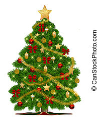 Christmastree with ornaments, 3d illustration, isolated,...