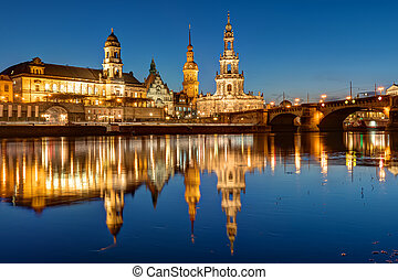 Hofkirche and palace in Dresden at night - Hofkirche and...
