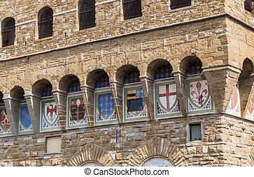 Coats of arms and communities on the facade of the Palazzo...