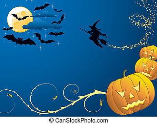 Halloween background with bats, witch & pumpkin, vector...