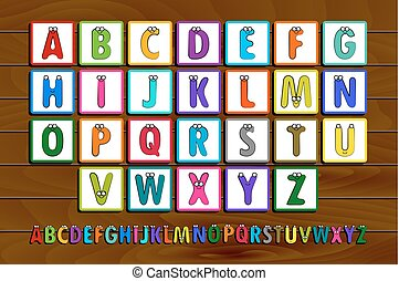 Letter Blocks. Vector illustration. Same view 26 letters of...