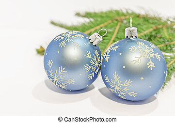 Close up blue decorative ball on the white background -...